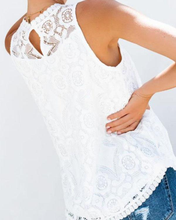 Women Crochet Lace Hollow out Solid Color Blouse Vest