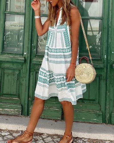 Cute Geometric Sleeveless Print V-Neck Mini Dress