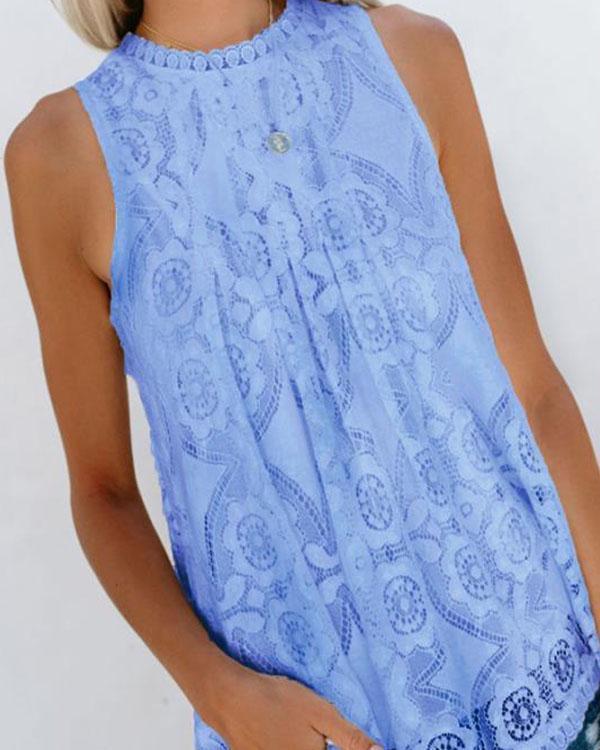 Women Crochet Lace Hollow out Solid Color Blouse Vest