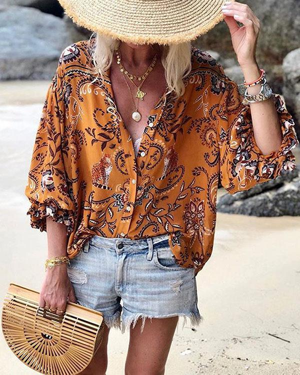 Bohemian Plant Print Casual Collar 3/4 Sleeves Shift Blouses