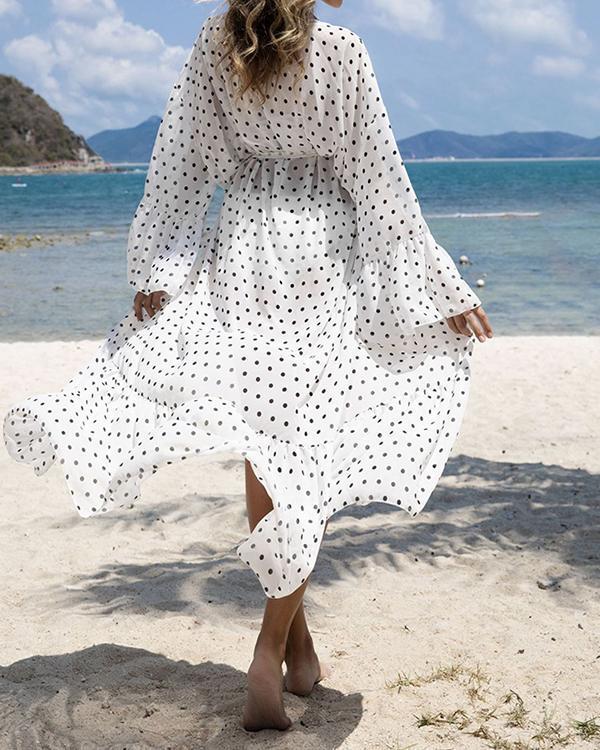 Women's Polka Dot Print Loose Kimono Cardigan Capes Beach Cover Up