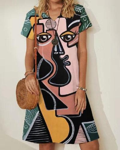 Personalized Short Sleeve Abstract Face Print V-Neck Mini Dress