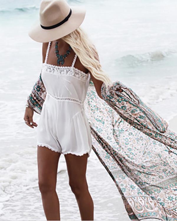 Women's Floral Print Sheer Chiffon Loose Kimono Cardigan Capes Beach Cover Up