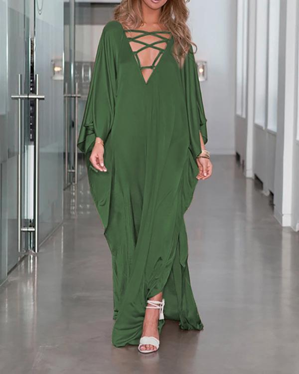 Solid Color Flowy Floor Length Plunging Neckline Beach Dress Cover Up