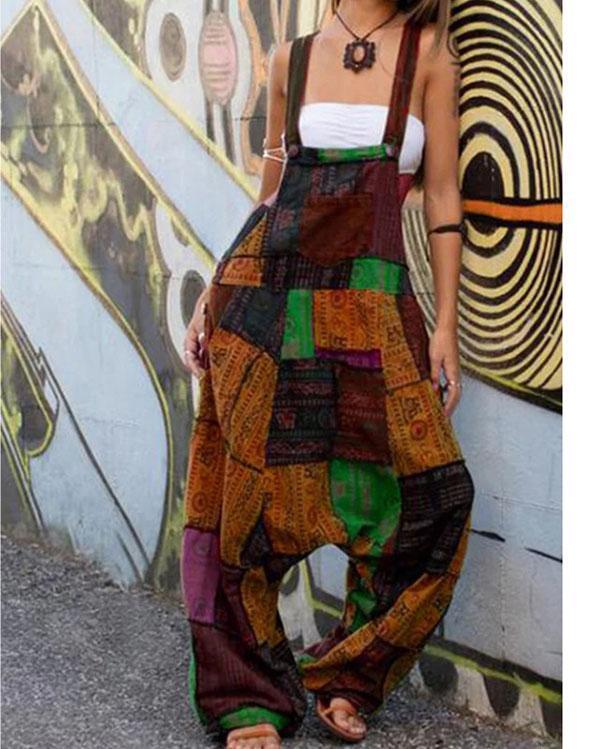 Womens Tribal Color-Block Pocket Casual Jumpsuit