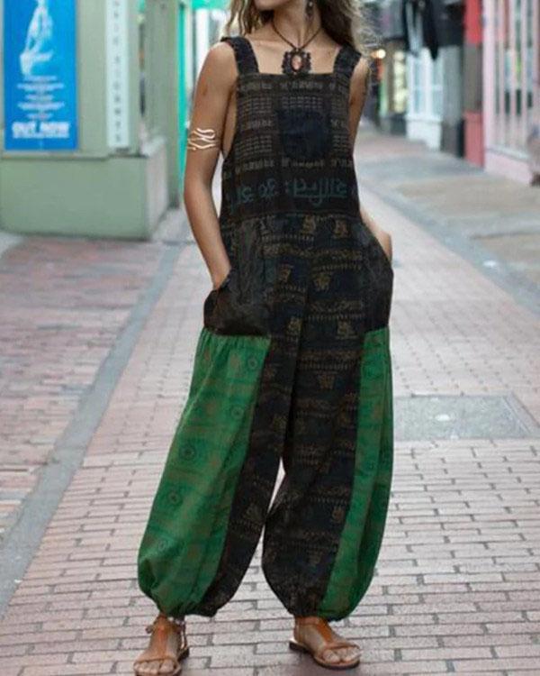 Womens Tribal Color-Block Pocket Jumpsuit