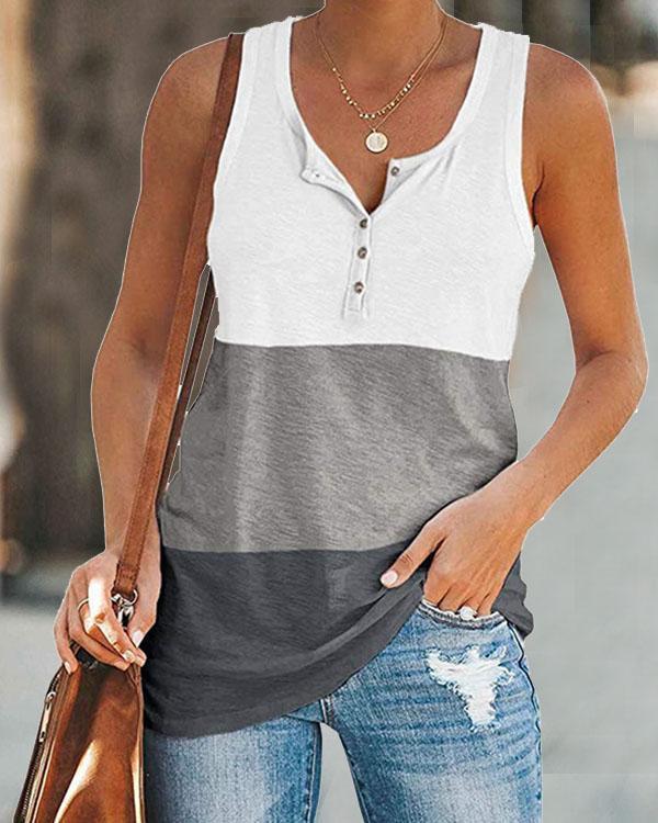 Women Colorblock Button Pocket Basic Vest&Tank