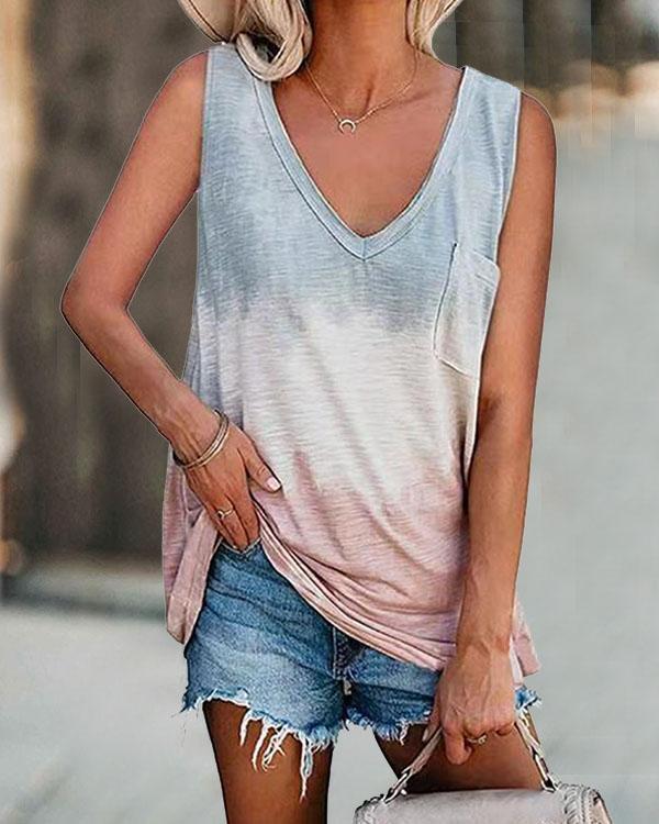 Women Plus Size Tie Dye Pocket Basic Vest