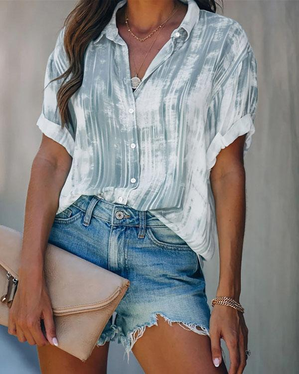 Tie Dye Casual Button up Blouse For Women