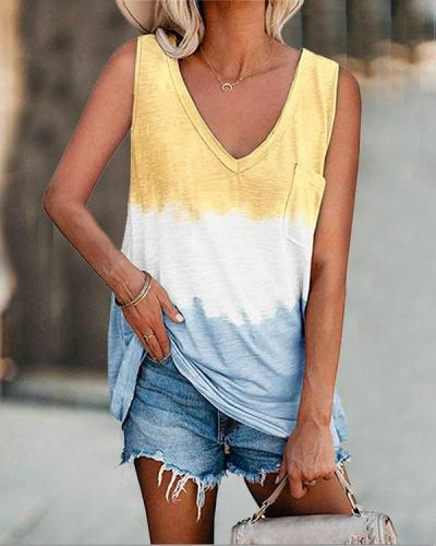 Women Plus Size Tie Dye Pocket Basic Vest