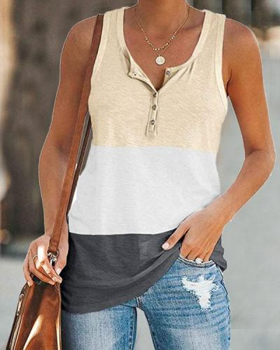 Women Colorblock Button Pocket Basic Vest&Tank