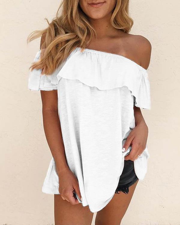 Women Cotton Solid Off Shoulder Ruffle Blouses