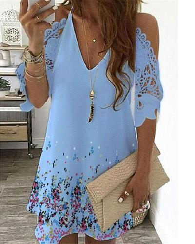 Women Summer Sexy V-neck Print Dress