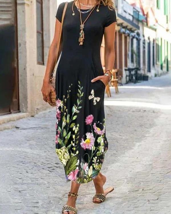 Cotton-Blend Short Sleeve Crew Neck Floral-Print Dresses