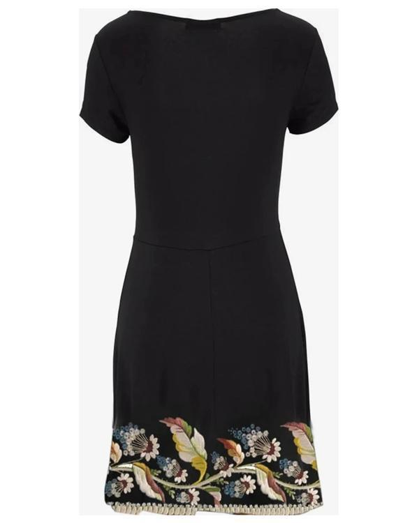 Retro Print Short Sleeve Black Mini Dress