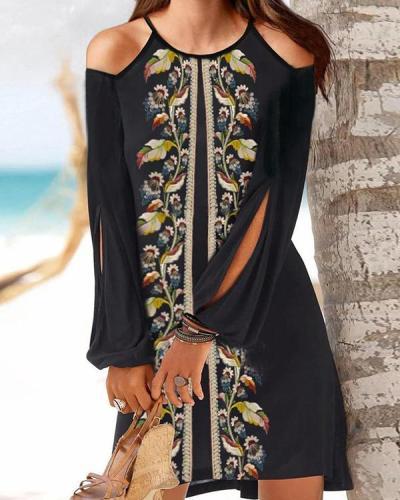 Women Floral Print Cold Shoulder Long Sleeve Vacation Dresses