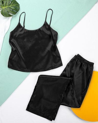 Solid Satin Lace Back 2-piece Sets Sexy Sleepwear