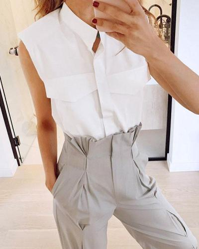 Women's Cotton Stand Collar Sleeveless Pocket Summer Shirts Tops