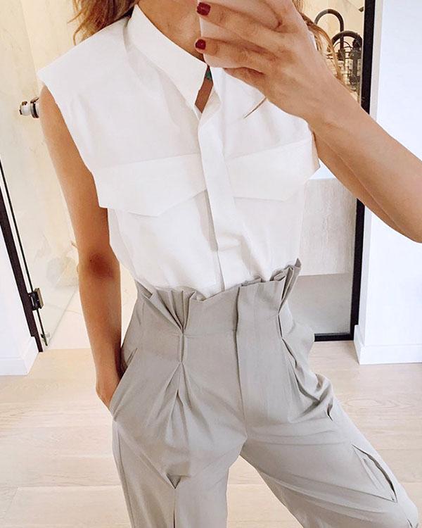 Women's Cotton Stand Collar Sleeveless Pocket Summer Shirts Tops