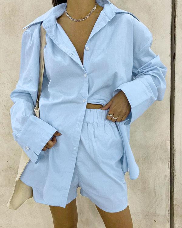 Solid Cotton Casual Comfy Shirt&Shorts Set