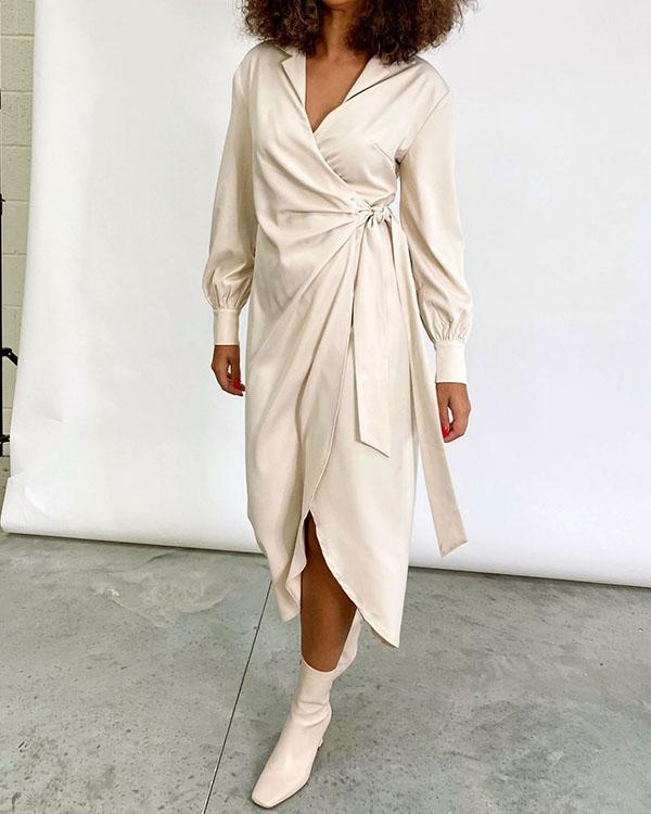 Women's Long Sleeve Wrap Lace up Midi Dress