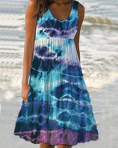 Women Cute Tie Dye Holiday Mini Dresses