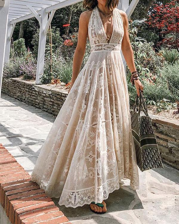 Women Lace Crochet Transparent Backless Elegant Dress