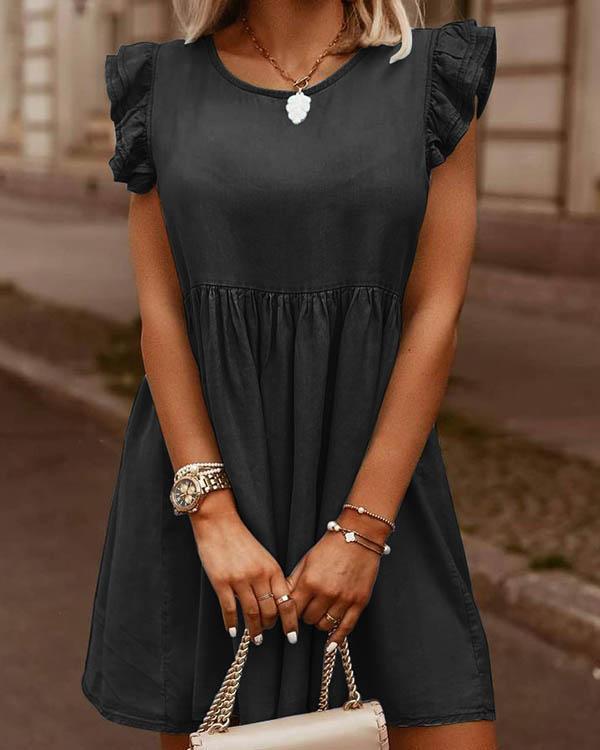 Fashion Round Neck Ruffle Hem Denim Dress