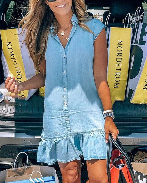 Fashion Ruffle Hem Denim Shirt Dress