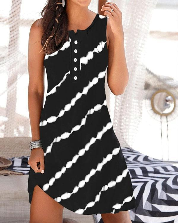 Stripe Printing Buttons Sleeveless Dress