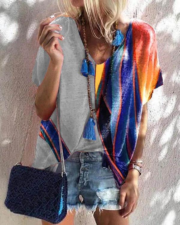 Womens Short Sleeve T Shirt Summer Print Tee Tops