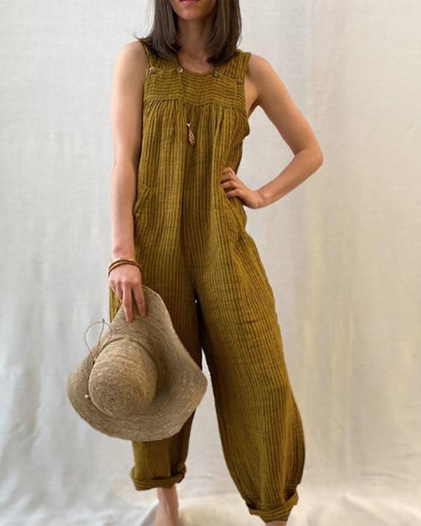 Solid Color Casual Summer Jumpsuit