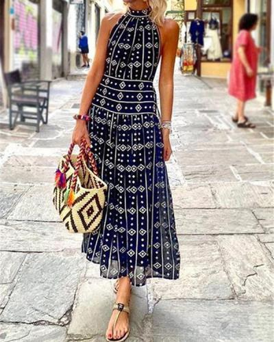 Printing Sleeveless Summer Bohemian Blue Dress