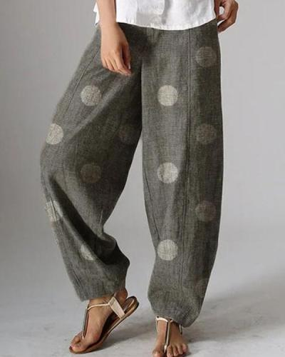 Fashion Polka Dot Elastic Waist Loose Pants
