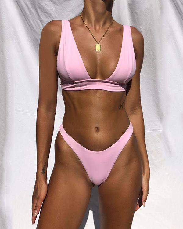 New Sexy Bikini Solid Swimsuit Women Swimwear