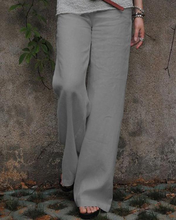 Solid Linen Cotton Wide Leg Mid Waist Pants