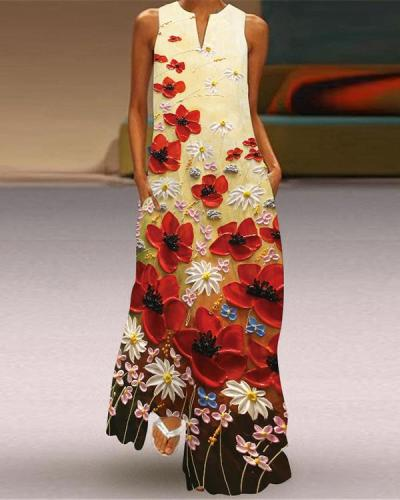 Women Western Style Sleeveless Pockets Printed Long Dress