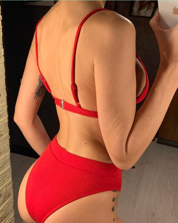 Female Special Fabric Bikini High Waisted Swimwear