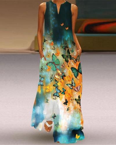 Western Style Sleeveless Pockets Printed Long Dress