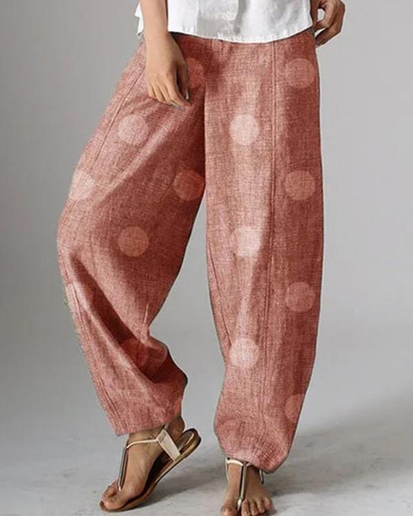 Fashion Polka Dot Elastic Waist Loose Pants