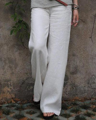 Solid Linen Cotton Wide Leg Mid Waist Pants