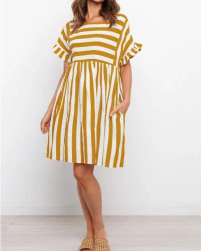 Fashion Round Neck Ruffle Sleeve Stripe Dress