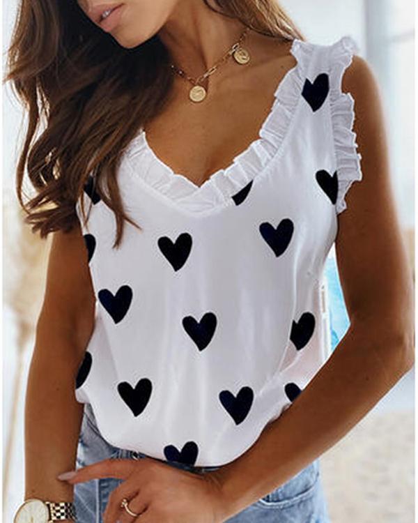 Heart Printed V Neck Sleeveless Cute Tank&Vest