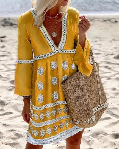 Cotton-Blend V Neck Casual Long Sleeve Dresses