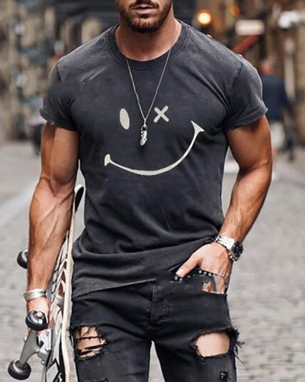Mens Smile Round Neck Short Sleeve T-shirt