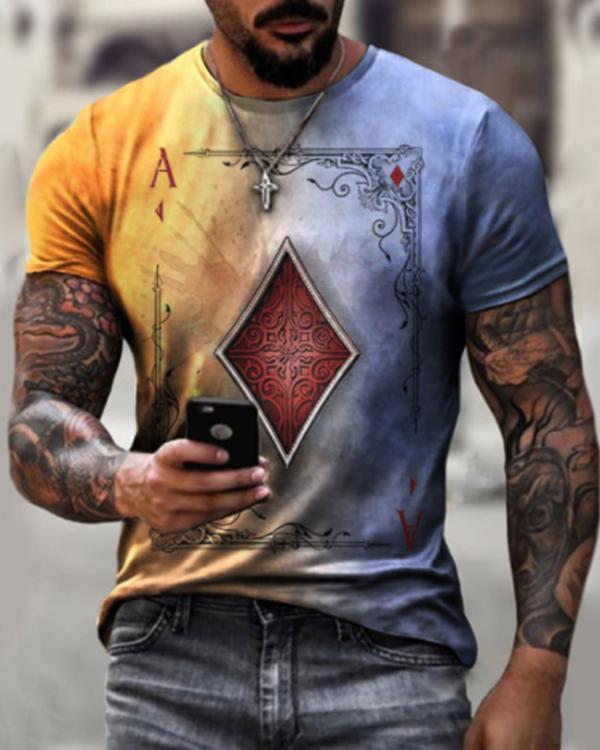 Playing Cards Diamond Square Print T-shirt
