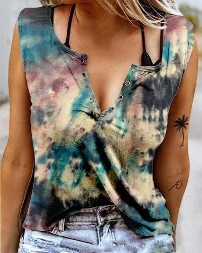 Colorful Tie Dye Casual Butterfly Print Tank&Vest Tops