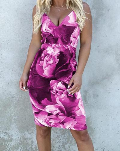 V-Neck Halter Summer Dress Above Knee Mini Dress