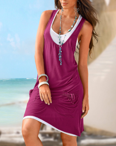 Casual Solid Round Neckline Knee-Length Shift Dress