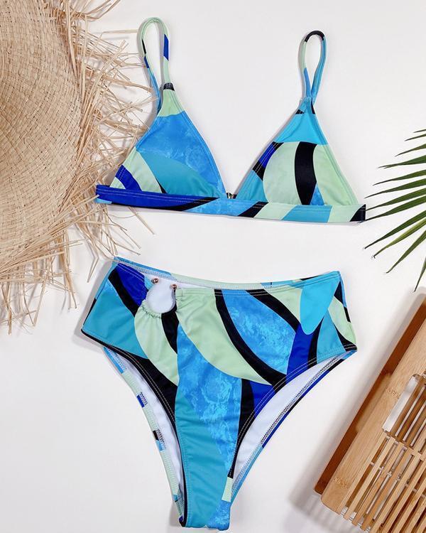 Printed High Waist Ladies Sexy Bikini Swimsuit